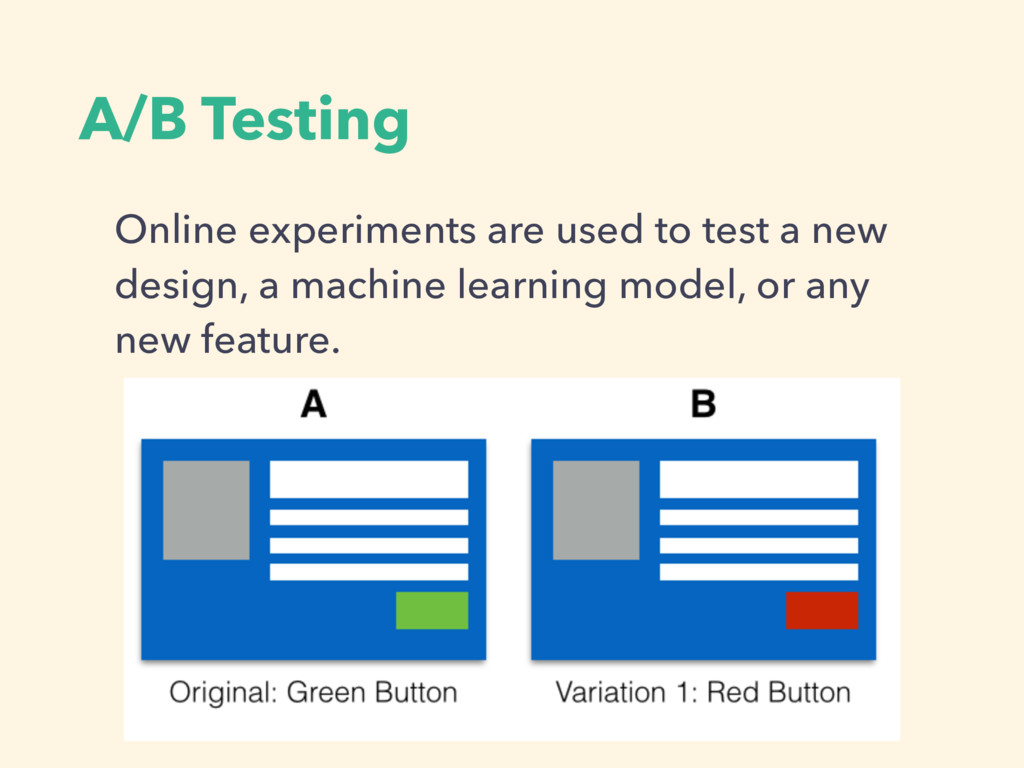 A/B Testing Online experiments are used to test...