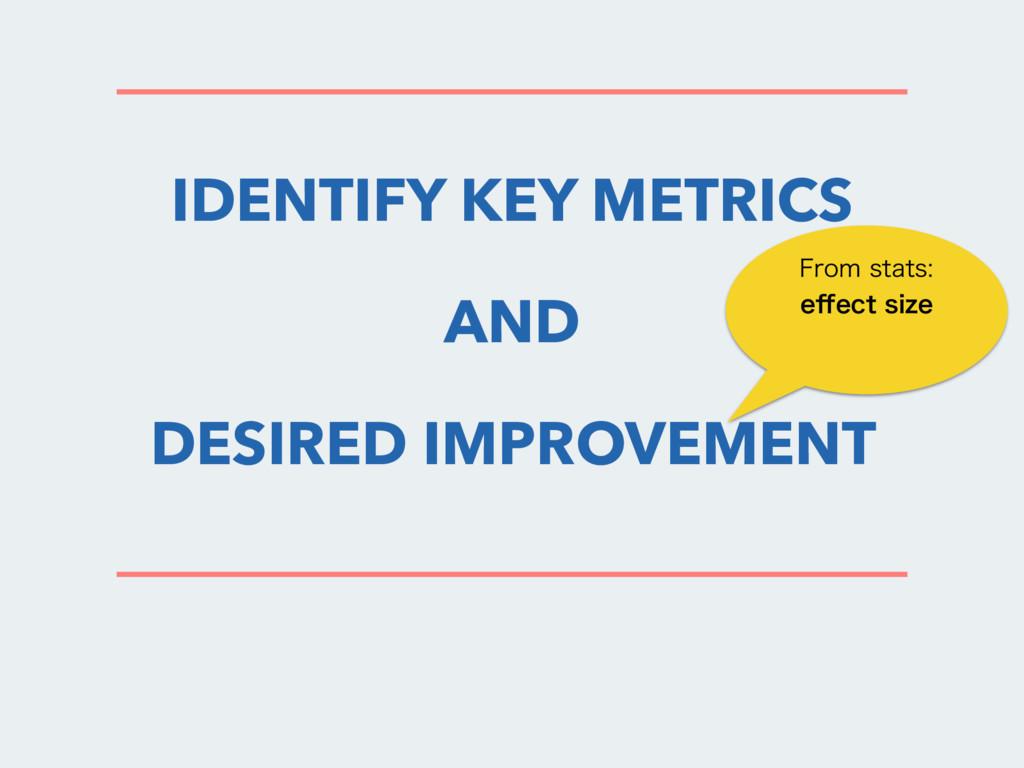 IDENTIFY KEY METRICS AND DESIRED IMPROVEMENT 'S...