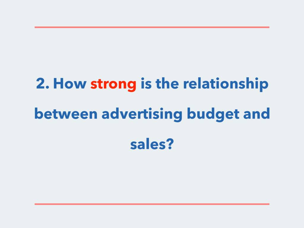 2. How strong is the relationship between adver...