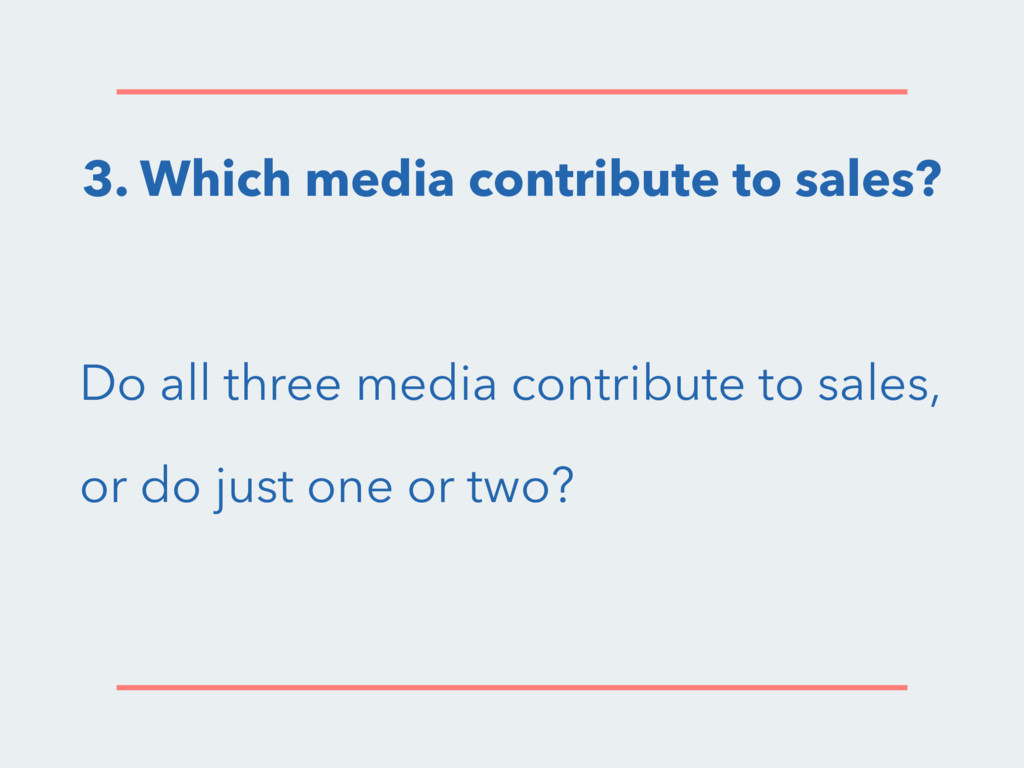 3. Which media contribute to sales? Do all thre...