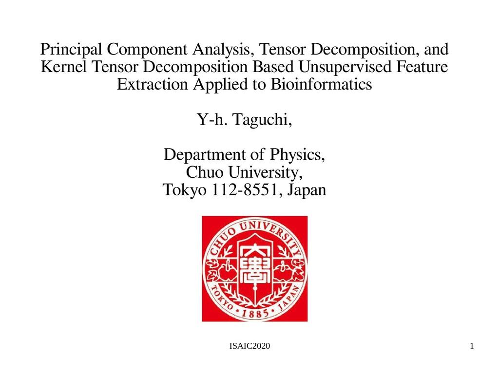 ISAIC2020 1 Principal Component Analysis, Tenso...