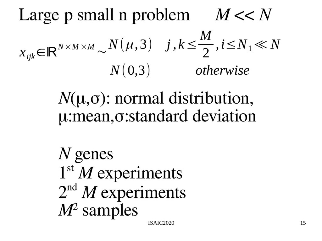 ISAIC2020 15 Large p small n problem N(μ,σ): no...