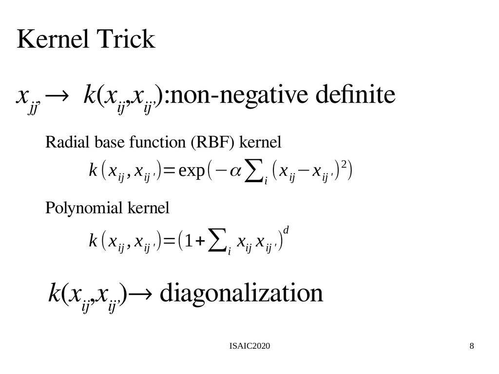 ISAIC2020 8 Kernel Trick x jj' → k(x ij ,x ij' ...
