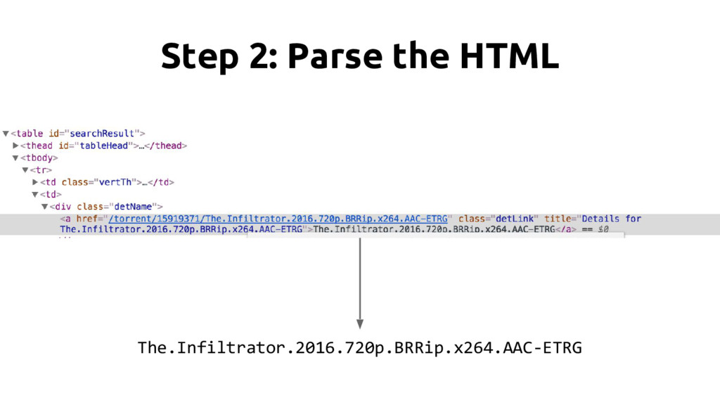 Step 2: Parse the HTML The.Infiltrator.2016.720...