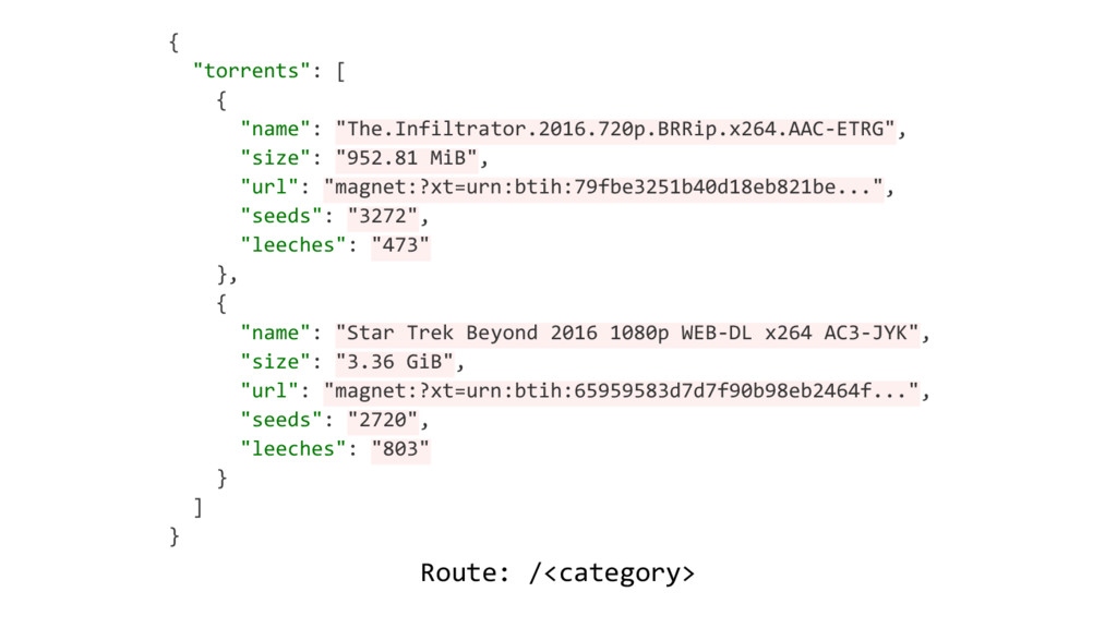 """Route: /<category> { """"torrents"""": [ { """"name"""": """"T..."""