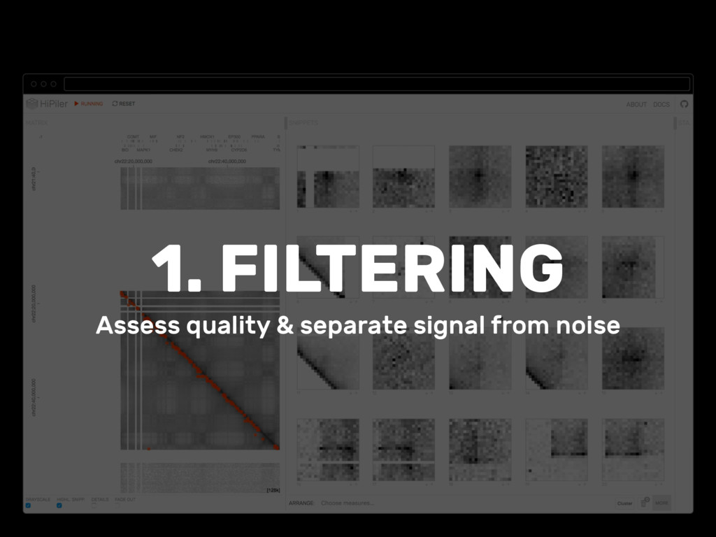 1. FILTERING Assess quality & separate signal f...