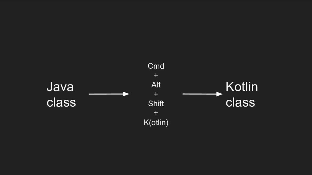 Cmd + Alt + Shift + K(otlin) Java class Kotlin ...