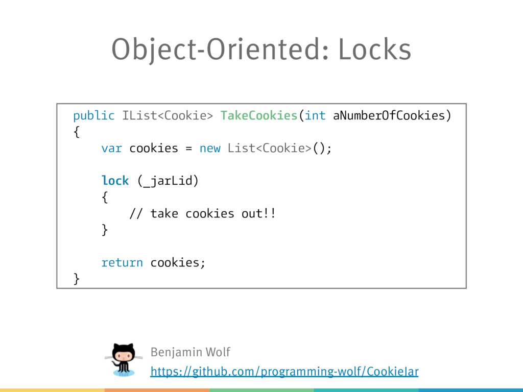 Object-Oriented: Locks public IList<Cookie> Tak...