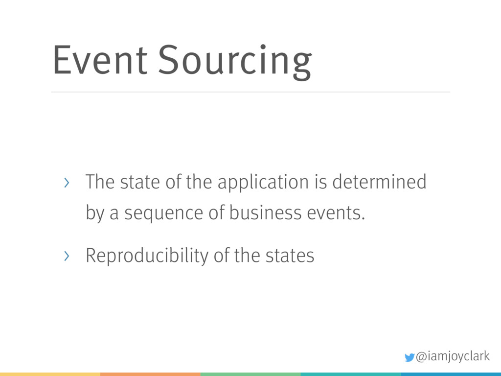 Event Sourcing > The state of the application i...
