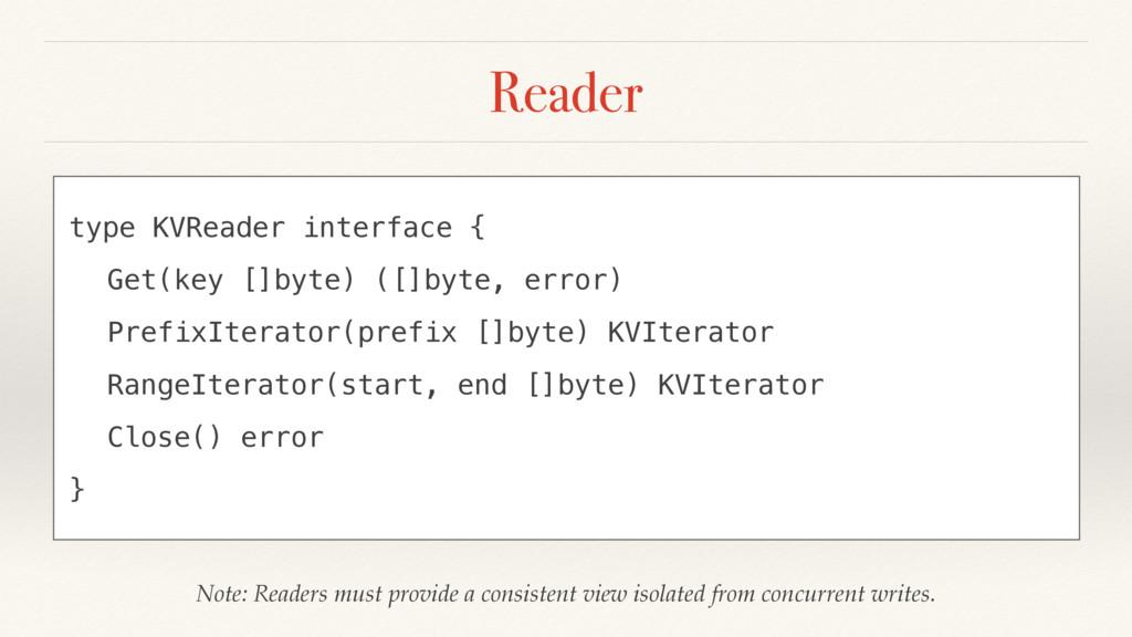 Reader type KVReader interface { Get(key []byte...