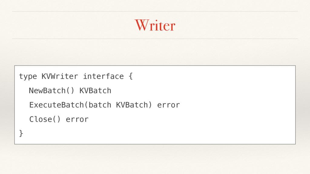 Writer type KVWriter interface { NewBatch() KVB...