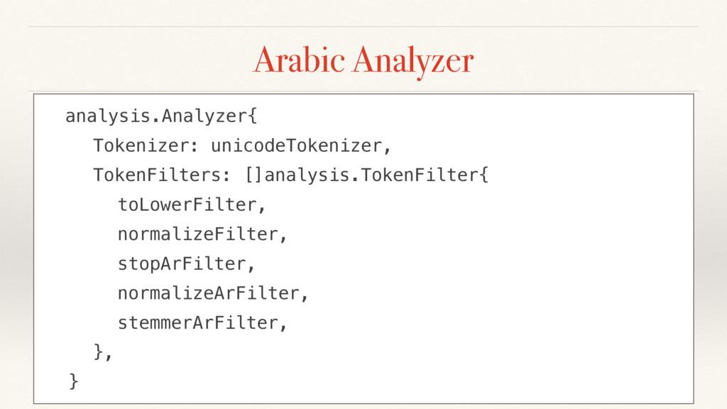 Arabic Analyzer analysis.Analyzer{ Tokenizer: u...