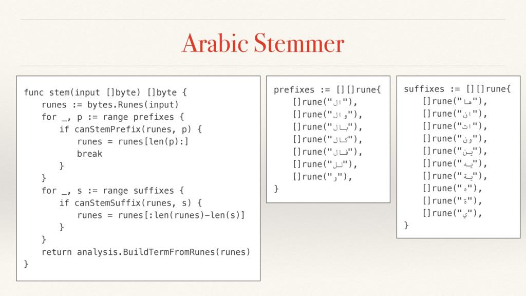 Arabic Stemmer func stem(input []byte) []byte {...