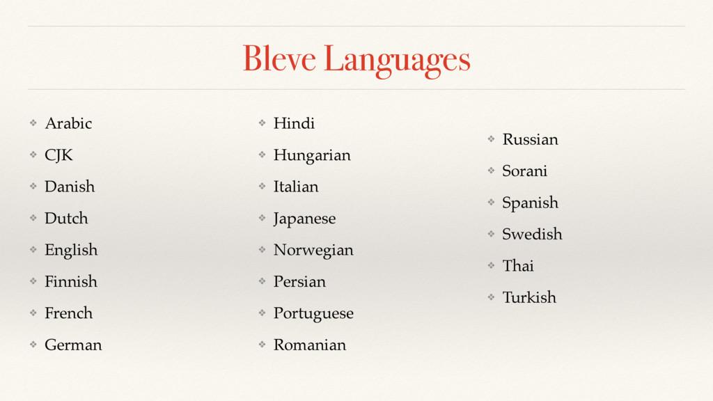 Bleve Languages ❖ Arabic ❖ CJK ❖ Danish ❖ Dutch...