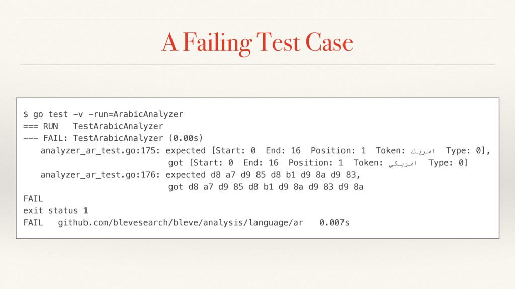 A Failing Test Case $ go test -v -run=ArabicAna...