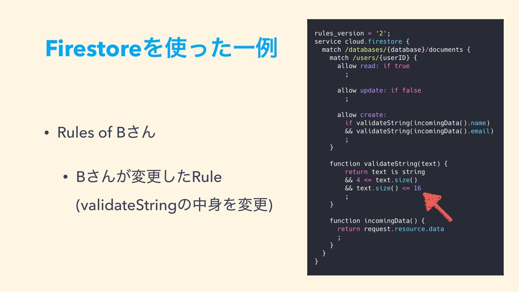 FirestoreΛͬͨҰྫ • Rules of B͞Μ • B͞Μ͕มߋͨ͠Rule ...