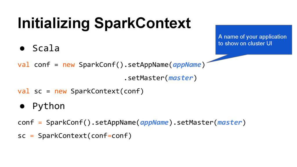 Initializing SparkContext ● Scala val conf = ne...