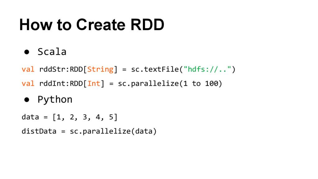 How to Create RDD ● Scala val rddStr:RDD[String...