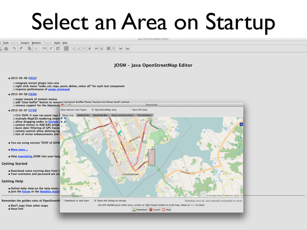 Select an Area on Startup