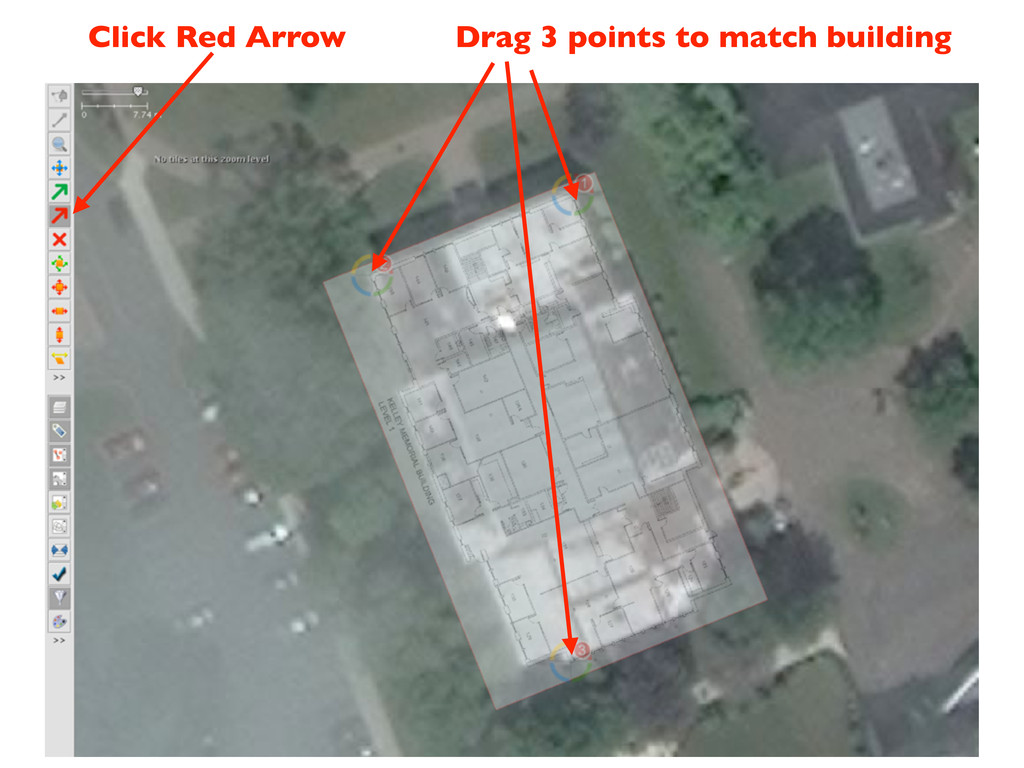 Click Red Arrow Drag 3 points to match building