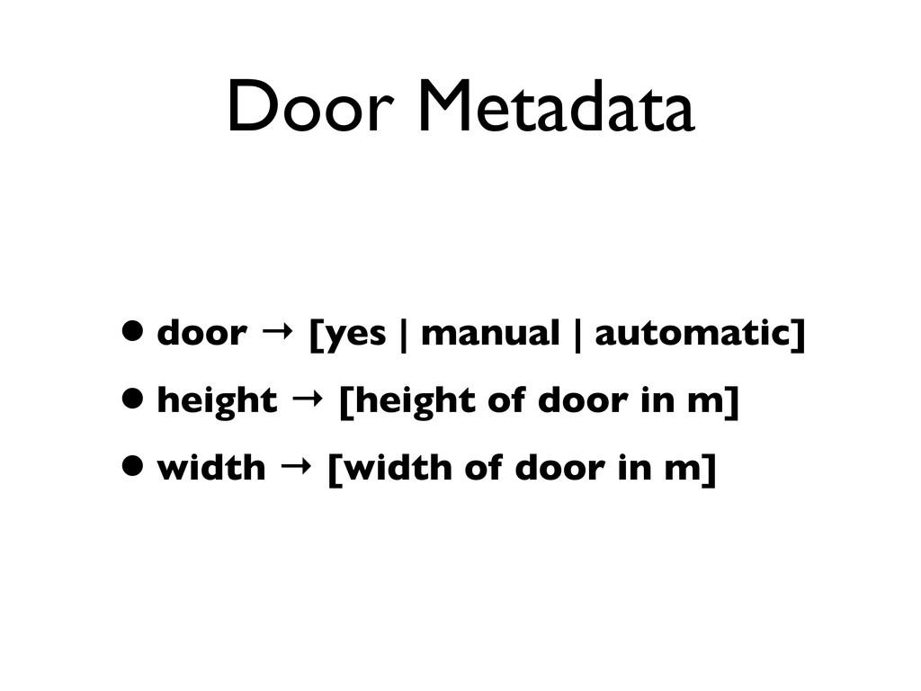 Door Metadata •door → [yes | manual | automatic...