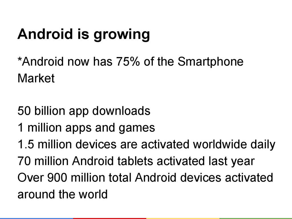 Android is growing *Android now has 75% of the ...