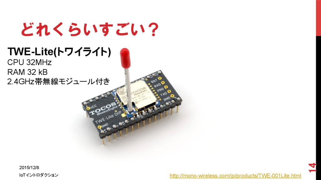 2015/12/8 IoTイントロダクション 14 どれくらいすごい? TWE-L...