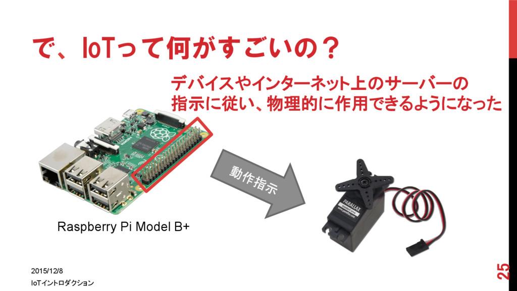 で、IoTって何がすごいの? 2015/12/8 IoTイントロダクション 25 ...