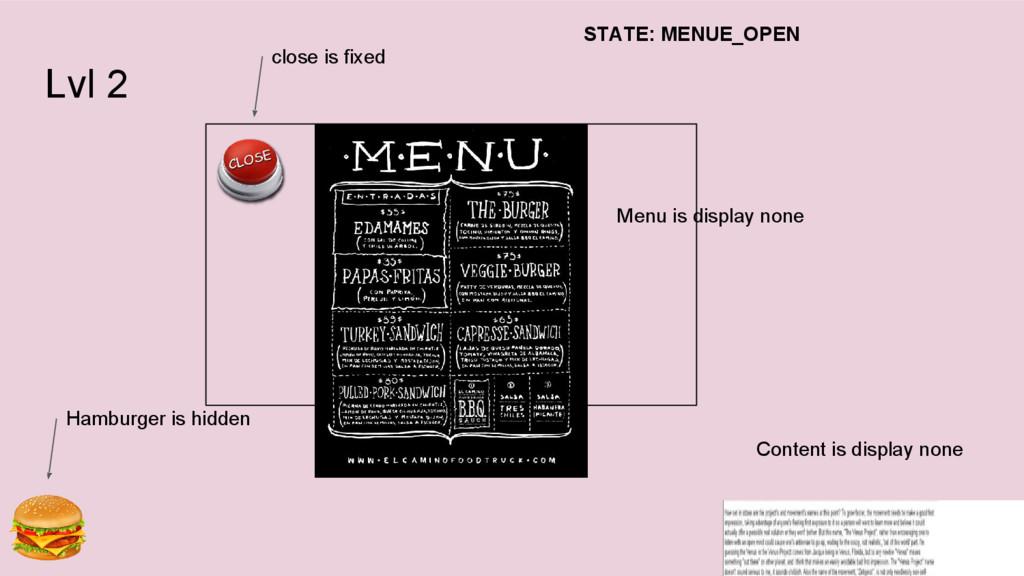 Lvl 2 Menu is display none Content is display n...