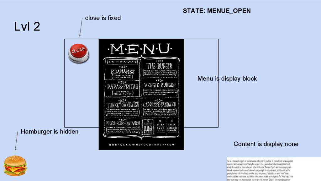 Lvl 2 Menu is display block Content is display ...