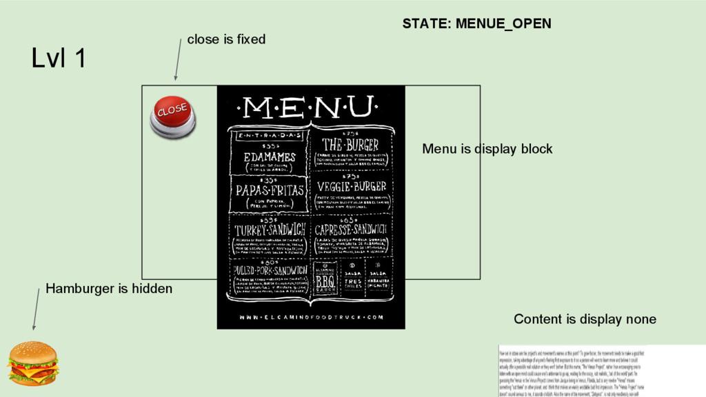 Lvl 1 Menu is display block Content is display ...