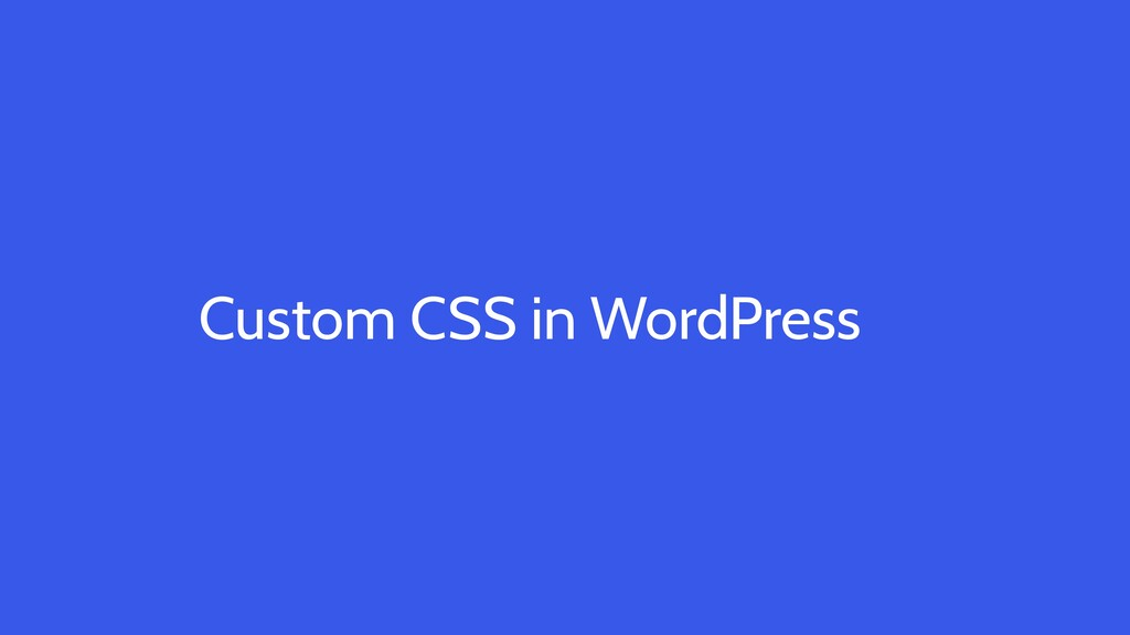 Custom CSS in WordPress
