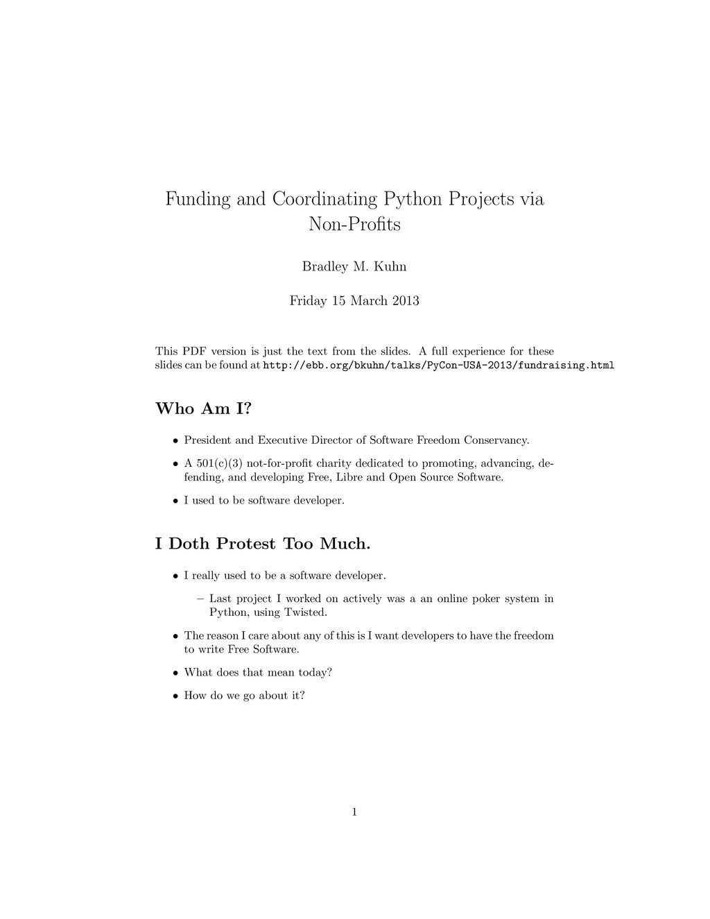 Funding and Coordinating Python Projects via No...