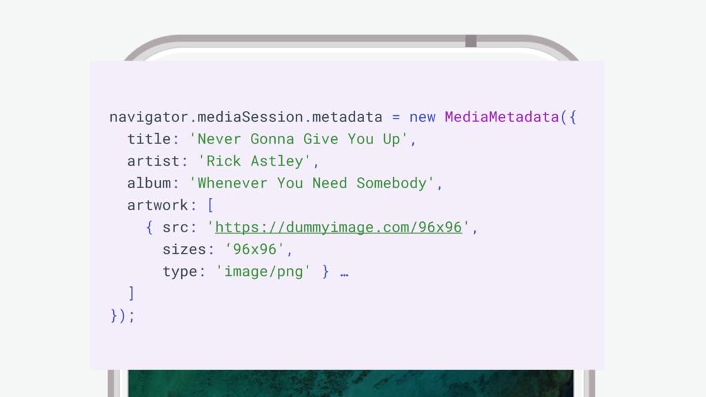 Media Session API navigator.mediaSession.metada...