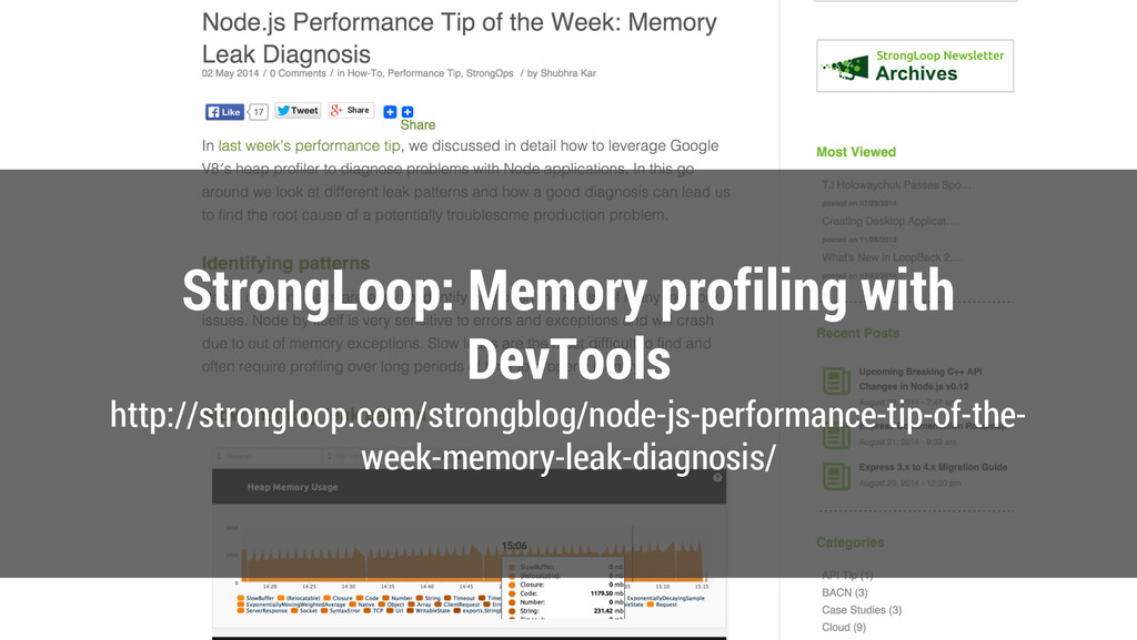 StrongLoop: Memory profiling with DevTools http...