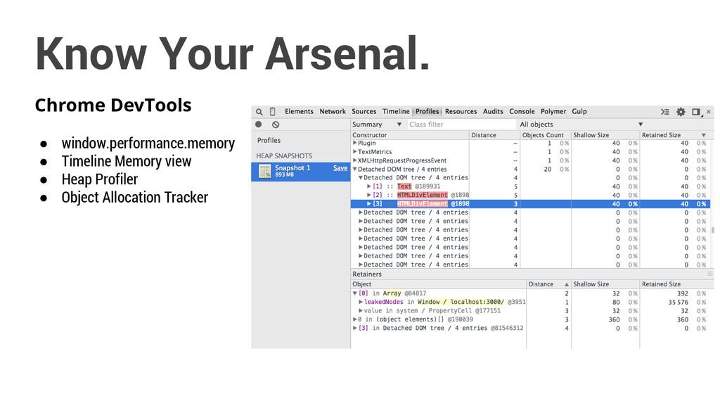 Chrome DevTools ● window.performance.memory ● T...