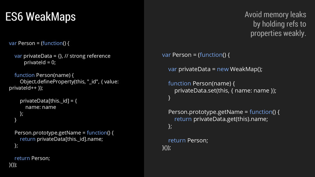 var Person = (function() { var privateData = ne...