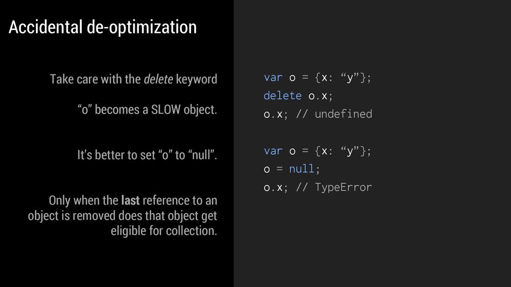 """var o = {x: """"y""""}; delete o.x; o.x; // undefined..."""