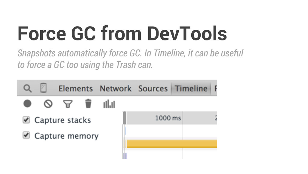 Force GC from DevTools Snapshots automatically ...