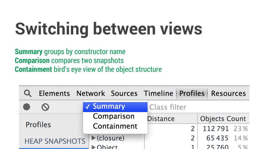 Switching between views Summary groups by const...