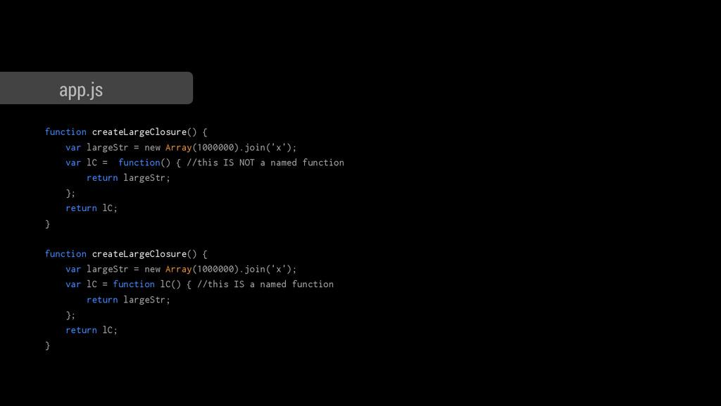 function createLargeClosure() { var largeStr = ...