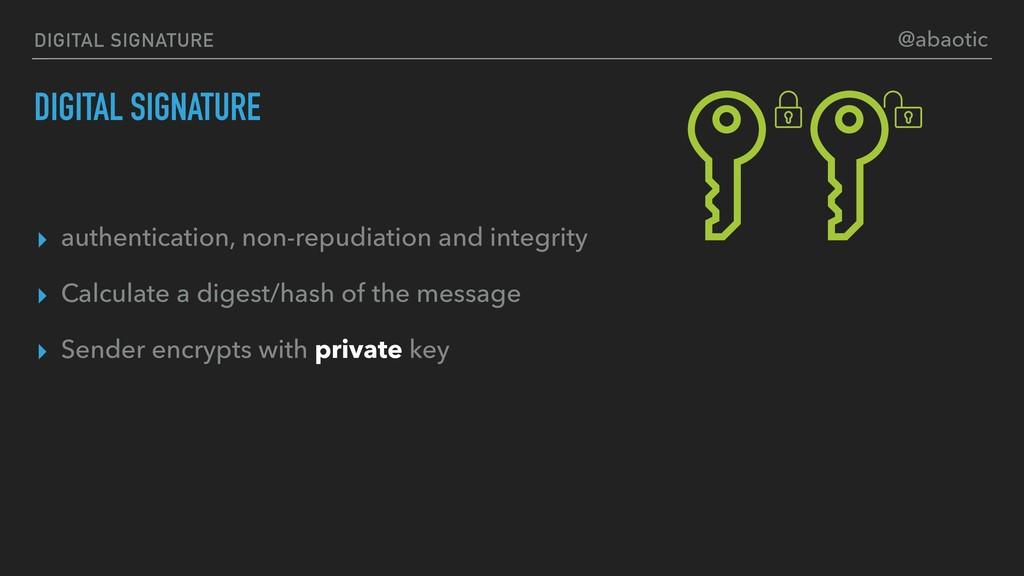 DIGITAL SIGNATURE ▸ authentication, non-repudia...