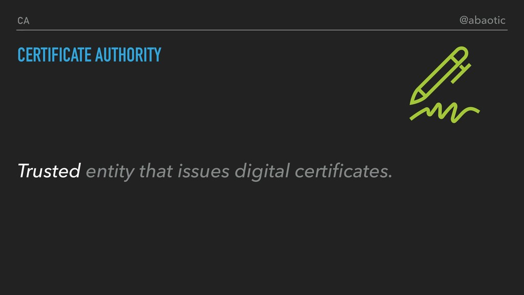 CERTIFICATE AUTHORITY CA Trusted entity that is...