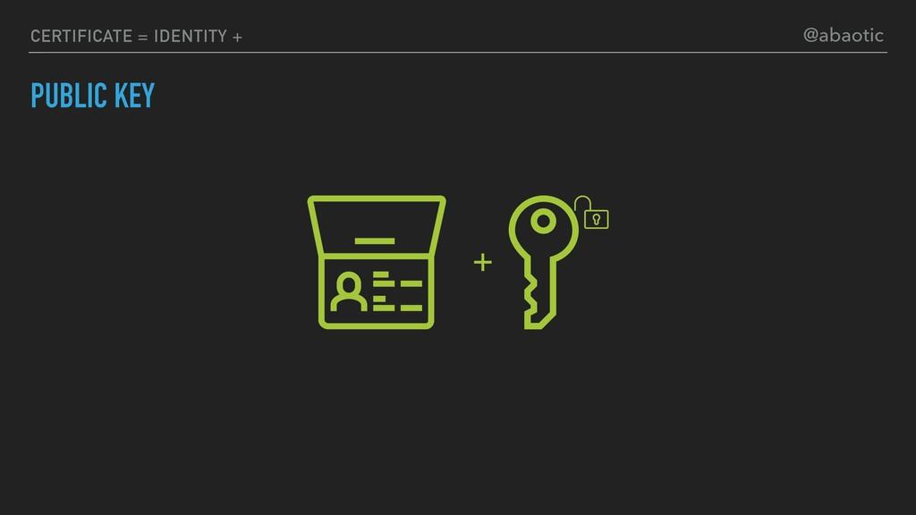 PUBLIC KEY CERTIFICATE = IDENTITY + + @abaotic