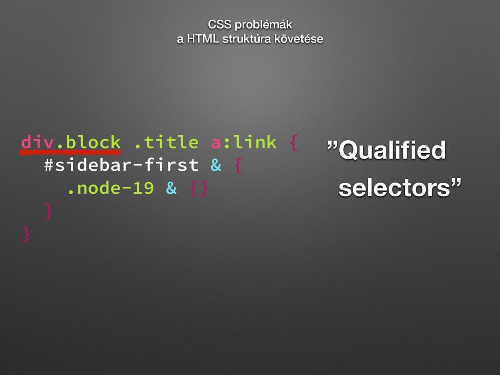 """Qualified ""selectors"" div.block .title a:link {..."