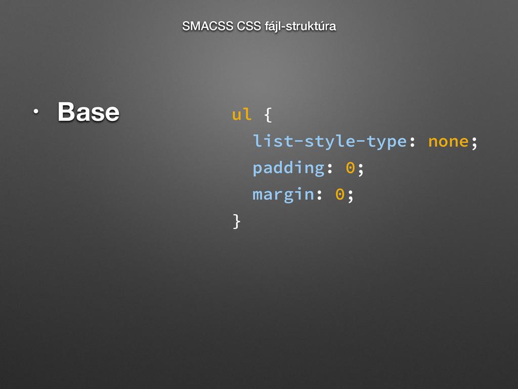 • Base SMACSS CSS fájl-struktúra ul { list-styl...