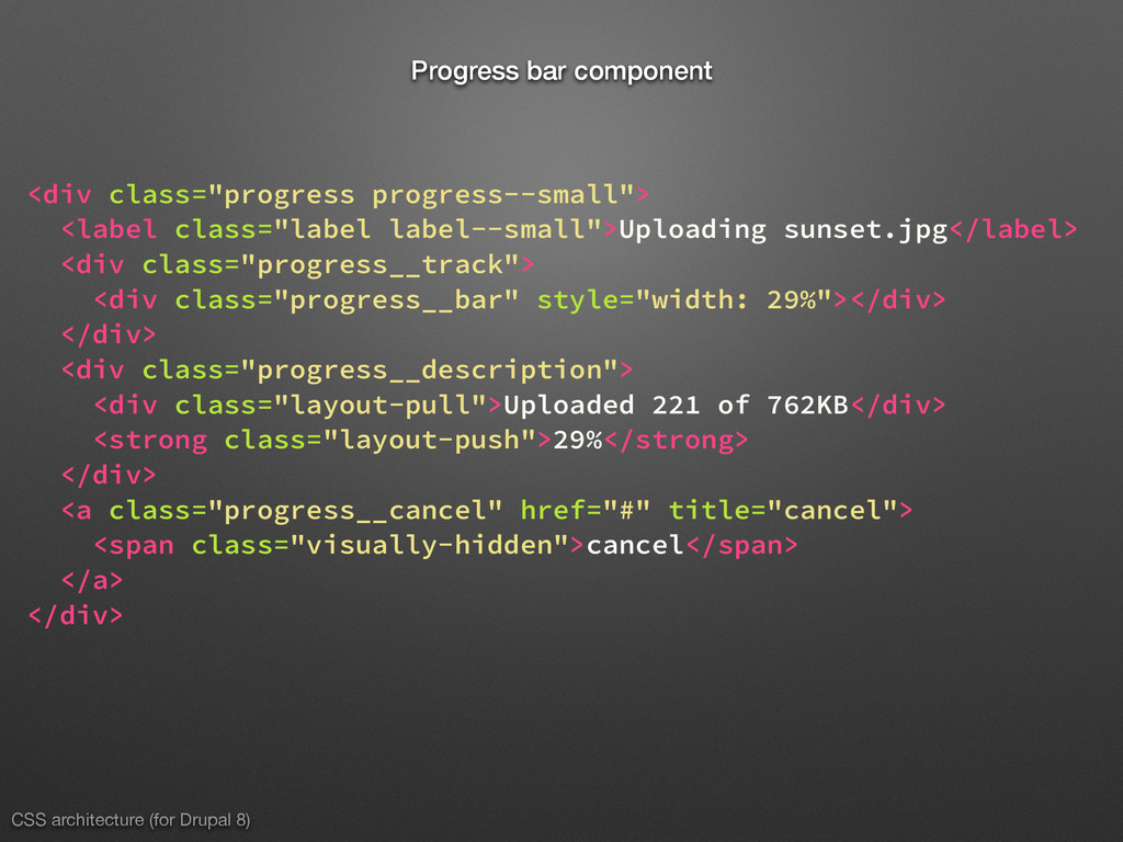 CSS architecture (for Drupal 8) Progress bar co...