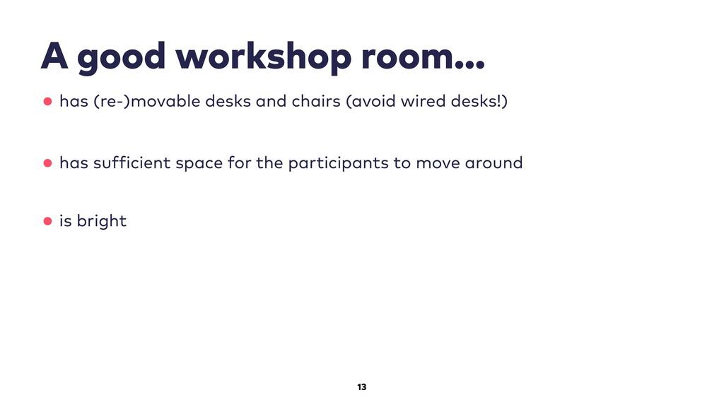 13 A good workshop room… •has (re-)movable desk...