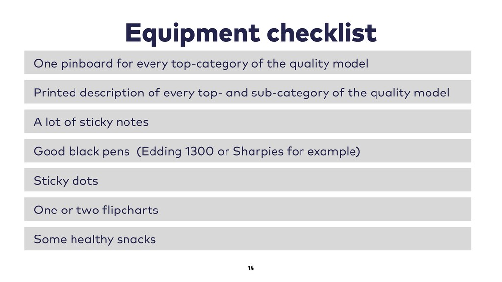 14 Equipment checklist One pinboard for every t...