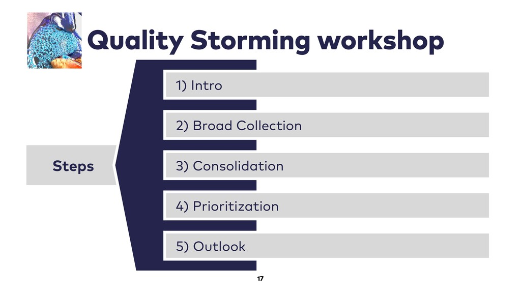 17 Quality Storming workshop Steps 1) Intro 2) ...